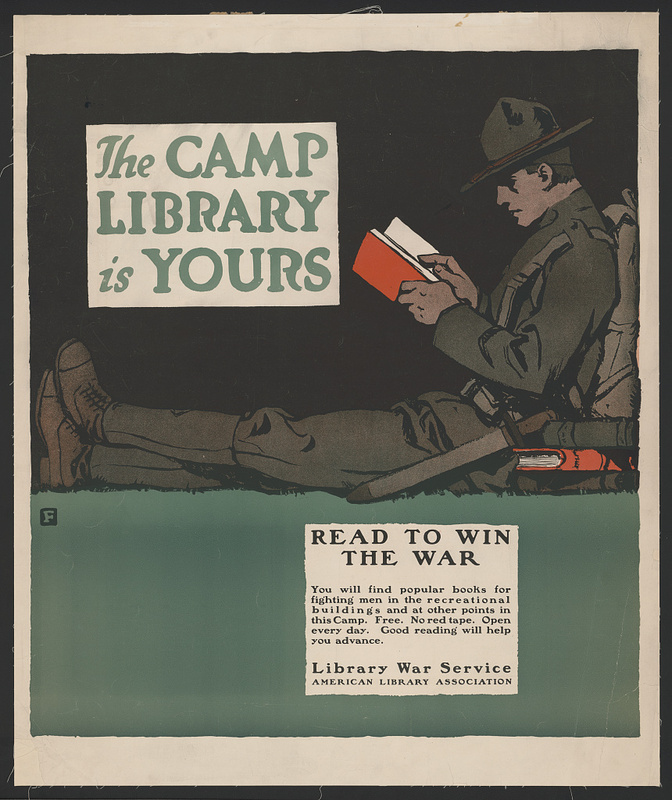 The camp library is yours - Read to win the war poster