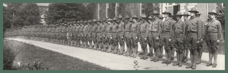 University of Kentucky military technical training during World War I. Cadets lined up in front of the Administration building, 17 July 1918.