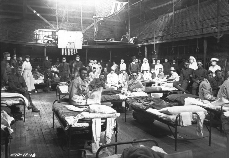 University of Kentucky gymnasium hospital during Spanish Influenza epidemic, 1918